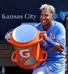 July 23, 2017 - Kansas City, MO, USA - Kansas City Royals' Salvador Perez prepares to deliver the splash to Brandon Moss after his walk-off hit in a 5-4 win over the Chicago White Sox on Sunday, July 23, 2017 at Kauffman Stadium in Kansas City, Mo. (Credit Image: © John Sleezer/TNS via ZUMA Wire)