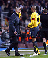 Photo: Chris Ratcliffe.<br /> Real Madrid v Arsenal. UEFA Champions League. 2nd Round, 1st Leg. 21/02/2006.<br /> Thierry Henry and Arsene Wenger of Arsenal discuss tactics