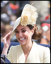 June 8, 2019 - London, London, United Kingdom - Image licensed to i-Images Picture Agency. 08/06/2019. London, United Kingdom. The Duchess of Cambridge holds on to her hat as she sits in a carriage during a windy  Trooping the Colour in London. (Credit Image: © Stephen Lock/i-Images via ZUMA Press)