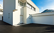 modern house white, view from the courtyard with garage
