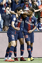 August 25, 2018 - Paris, France - Kylian Mbappe, Neymar, Edinson Cavani during the French L1 football match Paris Saint-Germain (PSG) vs Angers (SCO), on August 25, 2018 at the Parc des Princes in Paris. (Credit Image: © Mehdi Taamallah/NurPhoto via ZUMA Press)