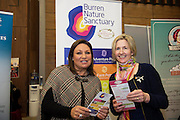 Burren Nature Sanctuary's Mary Bermingham with Norah Casey at the annual SCCUL Enterprise Awards prize giving ceremony and business expo which was hosted by NUI Galway in the Bailey Allen Hall, NUIG. Photo:Andrew Downes