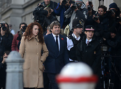 © Licensed to London News Pictures.28/10/2013. London, UK. Rebekah Brooks, the former head of News International and her husband Charlie Brooks arrive at Old Bailey court on October 28, 2013 in London where she faces charges relating to phone hacking scandal. Photo credit : Peter Kollanyi/LNP