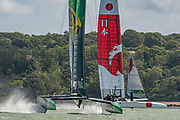 SailGP Team Japan and Team Australia practice ahead of the Cowes regatta. Event 4 Season 1 SailGP event in Cowes, Isle of Wight, England, United Kingdom. 7 August 2019: Photo Chris Cameron for SailGP. Handout image supplied by SailGP