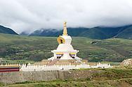 A big Tibetan Buddhist chorten found just south of Ganze, Tibet (China).