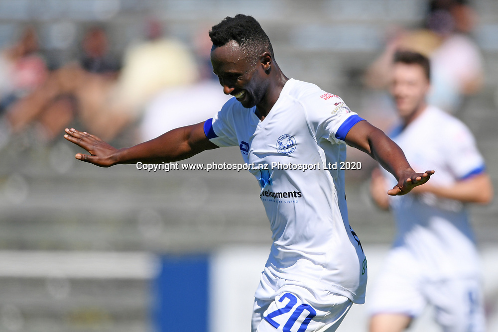 Hamilton Wanderers Derek Tieku celebrates a goal in the Handa Premiership football match, Hawke's Bay United v Hamilton Wanderers, Bluewater Stadium, Napier, Sunday, November 15, 2020. Copyright photo: Kerry Marshall / www.photosport.nz