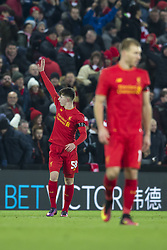 Halbfinale im Liga-Pokal Liverpool vs Leeds 1:0 in Liverpool / 291116<br /> <br /> ***LIVERPOOL, ENGLAND 29TH NOVEMBER 2016:<br /> Liverpool forward Ben Woodburn left celebrates after scoring during the English League Cup soccer match between Liverpool and Leeds at Anfield Stadium in Liverpool England November 29th 2016***