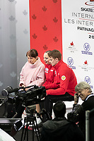 KELOWNA, BC - OCTOBER 26:  Aleksandra Boikova and Dmitrii Kozlovskii of Russia await their score in pairs free skate during Skate Canada International at Prospera Place on October 25, 2019 in Kelowna, Canada. (Photo by Marissa Baecker/Shoot the Breeze)