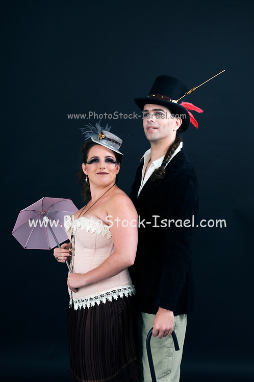 steampunk couple on black
