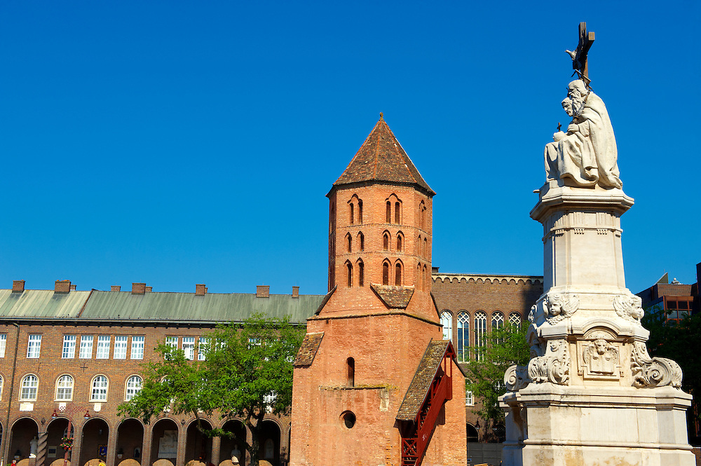 Medieval Bell tower of The Cathedral of Szeged and University cloisters, Dom Square, Hungary .<br /> <br /> Visit our HUNGARY HISTORIC PLACES PHOTO COLLECTIONS for more photos to download or buy as wall art prints https://funkystock.photoshelter.com/gallery-collection/Pictures-Images-of-Hungary-Photos-of-Hungarian-Historic-Landmark-Sites/C0000Te8AnPgxjRg