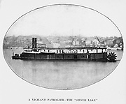 the Silver Lake gunboat is lying off Vicksburg after its fall. from the book ' The Civil war through the camera ' hundreds of vivid photographs actually taken in Civil war times, sixteen reproductions in color of famous war paintings. The new text history by Henry W. Elson. A. complete illustrated history of the Civil war