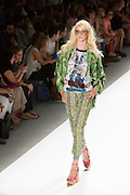 Print pants with elastic cuff hem, sparkly T and print jacket. By Custo Barcelona at the Spring 2013 Fashion Week show in New York.