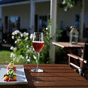 Food and wine in the scenic setting of Hans Herzog winery, restaurant and vineyard cottage. Marrlborough, South Island New Zealand.  Hans Herzog's roots lie in Switzerland where the family has grown wine since 1630.  The boutique estate and restaurant is widely acclaimed as one of the best in New Zealand...The Marlborough wine region is New Zealand's largest wine producer. The Marlborough wine region has earned a global reputation for viticultural excellence since the 1970s. It has an enviable international reputation for producing the best Sauvignon Blanc in the world. It also makes very good Chardonnay and Riesling and is fast developing a reputation for high quality Pinot Noir. Of the region's ten thousand hectares of grapes (almost half the national crop) one third are planted in Sauvignon Blanc. Marlborough, New Zealand, 10th February 2011. Photo Tim Clayton