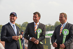 Chester Weber, (USA), Koos De Ronde, Theo Timmerman, (NED) - Driving dressage day 2 - Alltech FEI World Equestrian Games™ 2014 - Normandy, France.<br /> © Hippo Foto Team - Dirk Caremans<br /> 05/09/14