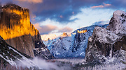 Winter sunset over Yosemite Valley from Tunnel View, Yosemite National Park, California USA