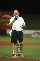 11 July 2012:  Frontier League Commissioner Bill Lee addresses the crowd after the Frontier League All Star Baseball game at Corn Crib Stadium on the campus of Heartland Community College in Normal Illinois