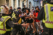 June 3, 2020, London, England, United Kingdom: A protestor scuffle with police during late-night clashes with police in central London on Wednesday, June 3, 2020. (Credit Image: © Vedat Xhymshiti/ZUMA Wire)