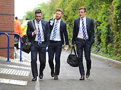 Bristol Rovers' Matt Taylor,  Jake Gosling and Tom Lockyer walk into the Memorial Stadium prior to kick off. - Photo mandatory by-line: Alex James/JMP - Mobile: 07966 386802 - 03/05/2015 - SPORT - Football - Bristol - Memorial Stadium - Bristol Rovers v Forest Green Rovers - Vanarama Football Conference
