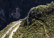 Hiking down from the village of Tresviso, in the Picos de Europa national park, a hamlet famous for its goat's cheese. This is a view of some of the switchbacks that make up the trail - not for those who don't like heights.