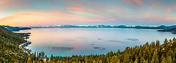 """Sunrise At Lake Tahoe 21"" - Stitched panoramic photograph taken above Lake Tahoe's east shore at sunrise."