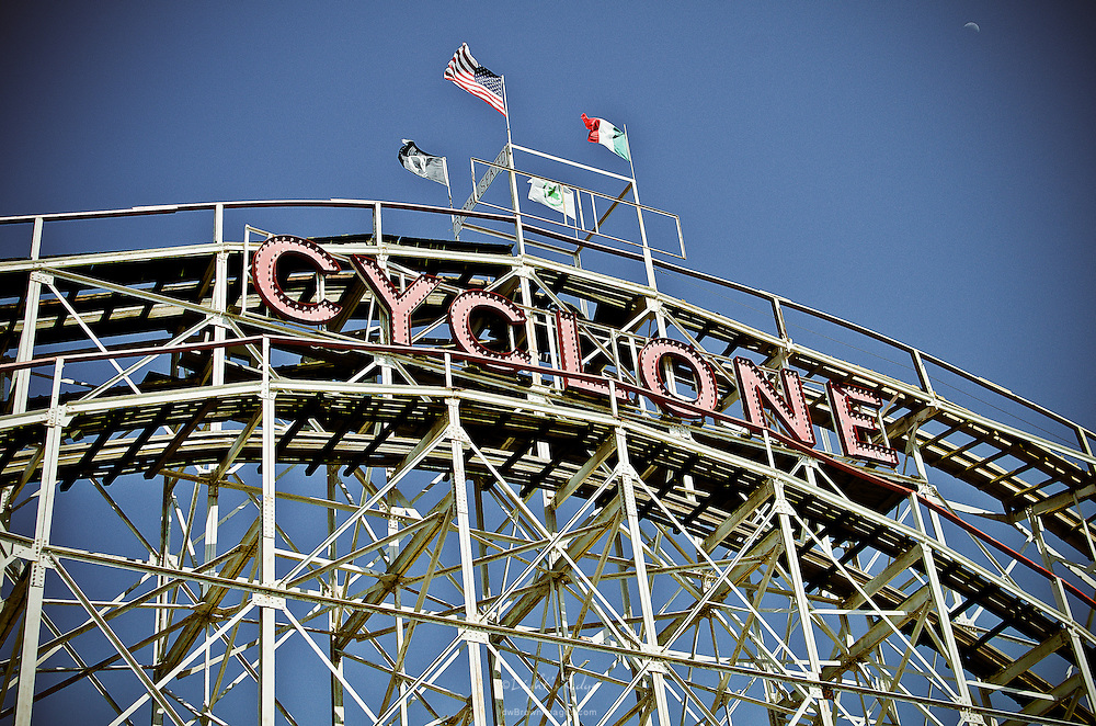 The first drop and the sign of the famous Cyclone wooden roller coaster in Coney Island, NY.