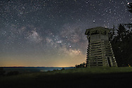 Droop Mountain Battlefield State Park near Hillsboro, West Virginia is part of long stretch of area throughout the Allegheny Front where the milky way can be seen as viewed from this easily accessed overlook at Droop Tower.