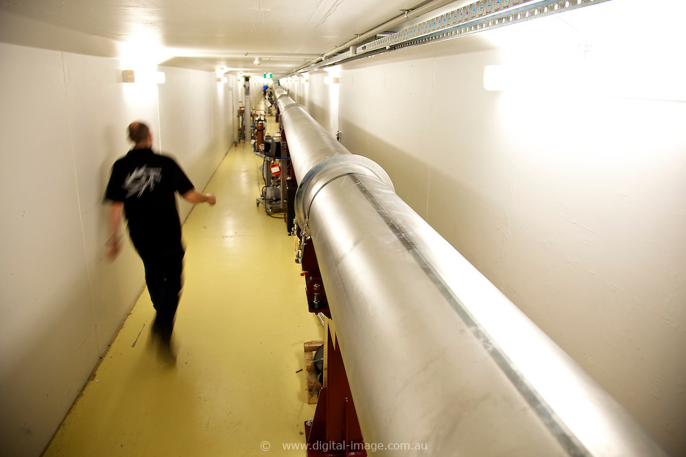 Imaging and Medical Beamline Tunnel at the Australian Synchrotron.  person working on equipment
