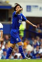 Photo Aidan Ellis.<br />Everton v Bologna (Colin Harvey Testimonial). 10/08/2003.<br />Everton's Li Tie