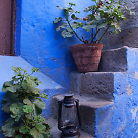 South America, Peru, Arequipa. Geraniums on Steps at Santa Catalina Monastery.