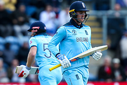 Jason Roy of England  and Jonny Bairstow of England run between the wickets - Mandatory by-line: Robbie Stephenson/JMP - 08/06/2019 - CRICKET - Cardiff Wales Stadium - Cardiff , England - England v Bangladesh - ICC Cricket World Cup 2019 Group Stage