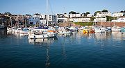 Boats moored in the harbour at Paignton, Devon, England