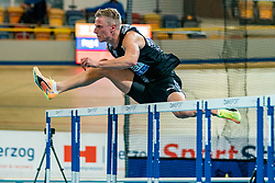 Koen Smet in action on the 60 meter hurdles during AA Drink Dutch Athletics Championship Indoor on 21 February 2021 in Apeldoorn.