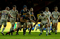 Harlequins' Chris Robshaw (left) and Exeter's Don Armand go for the ball during the Aviva Premiership match at Twickenham Stoop, London.