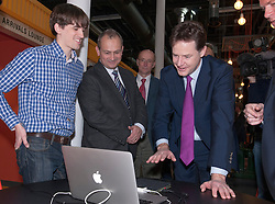 © Licensed to London News Pictures.  29/01/2015. Bristol, UK.  Deputy Prime Minister Nick Clegg uses his hands to interact with a display by Ultrahaptics during a visit to Engine Shed at Temple Meads in Bristol to confirm an extra £18.1 million from the Government to the West of England Local Enterprise Partnership between 2016 and 2021. The deal will help Engine Shed Phase 2 in Bristol to expand and create more space for business incubation, offices for businesses to grow into, as well as meeting and collaboration space. The deal will also create 6000 new jobs, build 11500 new homes and generate up to £200m public and private investment. Photo credit : Simon Chapman/LNP