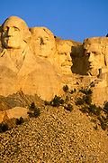 Morning light on Mount Rushmore, Mount Rushmore National Memorial, South Dakota USA