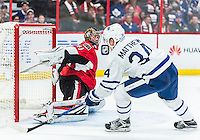 October 12, 2016: Toronto Maple Leafs Center Auston Matthews (34) scores his forth goal on his NHL debut for the Toronto Maple Leafs during the NHL game against the Ottawa Senators at Canadian Tires Centre in Ottawa, Ontario, Canada. (Photo by Steve Kingsman/Icon Sportswire)