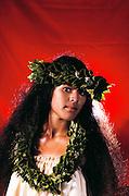 Hawaiian woman. Hula contest in Hilo. Big Island, Hawaii. USA. MODEL RELEASED.