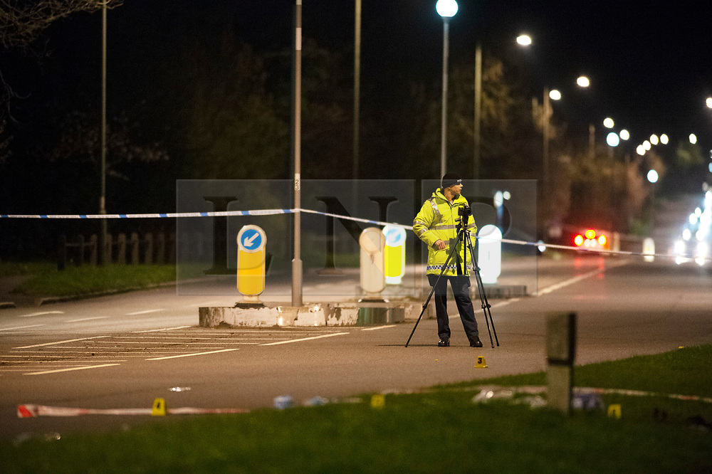 © Licensed to London News Pictures. 13/04/2019.<br /> Orpington, UK. A police investigation under way at the scene where a child was left critical condition in hospital after being hit by a blue car in Orpington, South East London tonight. Traffic police are on scene with cordons in place on Court Road A224. Photo credit: Grant Falvey/LNP