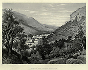 Engraving of Steel Nablus the ancient Shechem from Picturesque Palestine, Sinai and Egypt by Wilson, Charles William, Sir, 1836-1905; Lane-Poole, Stanley, 1854-1931 Volume 2. Published in New York by D. Appleton in 1881-1884