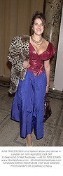Artist TRACEY EMIN at a fashion show and dinner in London on 16th April 2002.		OZA 387