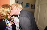 Lady Wyatt and Boris Johnson. Spectator party. Doughty St. London. 28 July 2005. ONE TIME USE ONLY - DO NOT ARCHIVE  © Copyright Photograph by Dafydd Jones 66 Stockwell Park Rd. London SW9 0DA Tel 020 7733 0108 www.dafjones.com