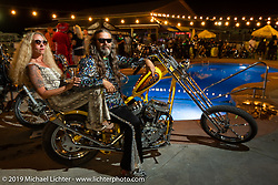Heather and Chris Callen at their Cycle Source Magazine 70's pool party at the Steel Pony Campground during the Sturgis Motorcycle Rally. SD, USA. Thursday, August 12, 2021. Photography ©2021 Michael Lichter.