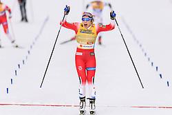 February 21, 2019 - Seefeld In Tirol, AUSTRIA - 190221 Maiken Caspersen Falla of Norway celebrates after winning the womenÃ•s cross-country skiing sprint final during the FIS Nordic World Ski Championships on February 21, 2019 in Seefeld in Tirol..Photo: Vegard Wivestad GrÂ¿tt / BILDBYRN / kod VG / 170285 (Credit Image: © Vegard Wivestad Gr¯Tt/Bildbyran via ZUMA Press)