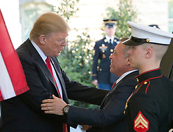 United States President Donald J. Trump welcomes King Abdullah II of Jordan to the White House in Washington, DC on Wednesday, April 5, 2017.<br /> Credit: Ron Sachs / CNP *** Please Use Credit from Credit Field ***
