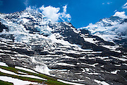 Left to right:  Eiger Glacier - Eigergletscher - Monch and Jungfrau mountains in the Swiss Alps, Switzerland