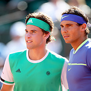 2017 French Open Tennis Tournament - Day Thirteen.  Dominic Thiem of Austria and Rafael Nadal of Spain pose for a photograph before the Men's Singles Semi Final match on Philippe-Chatrier Court at the 2017 French Open Tennis Tournament at Roland Garros on June 9th, 2017 in Paris, France.  (Photo by Tim Clayton/Corbis via Getty Images)