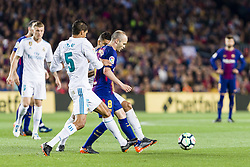 May 6, 2018 - Barcelona, Catalonia, Spain - FC Barcelona midfielder Andres Iniesta (8) and Real Madrid defender Raphael Varane (5) during the match between FC Barcelona v Real Madrid, for the round 36 of the Liga Santander, played at Camp nou  on 6th May 2018 in Barcelona, Spain. (Credit Image: © Urbanandsport/NurPhoto via ZUMA Press)
