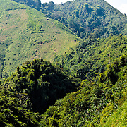 Some of the mountainous terrain of northern Laos in Luang Namtha province. At bottom is a creek. At top can be seen small bamboo huts that provide shelter to the rice farmers.