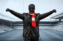 The Bill Shankly statue wearing a Liverpool scarf outside Anfield seen before the match