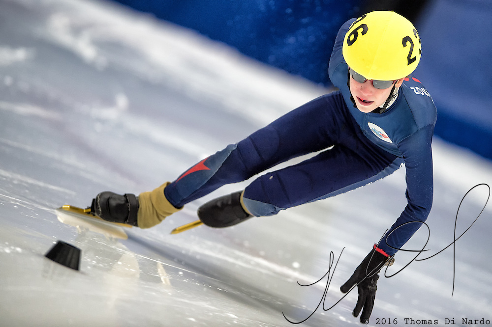 March 19, 2016 - Verona, WI - Carl Tatelli, skater number 236 competes in US Speedskating Short Track Age Group Nationals and AmCup Final held at the Verona Ice Arena.